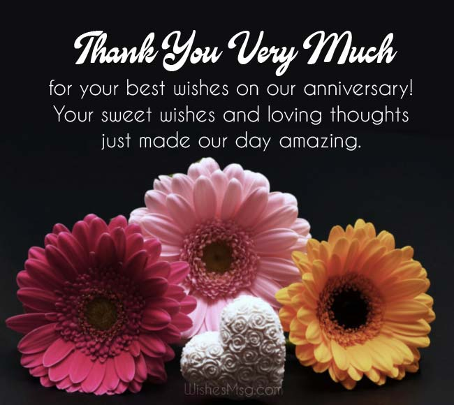 Thank You Messages For Anniversary Wishes Gifts Wedding