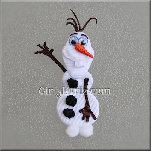 Mini Frozen Olaf Hair Bows with Alligator Clips