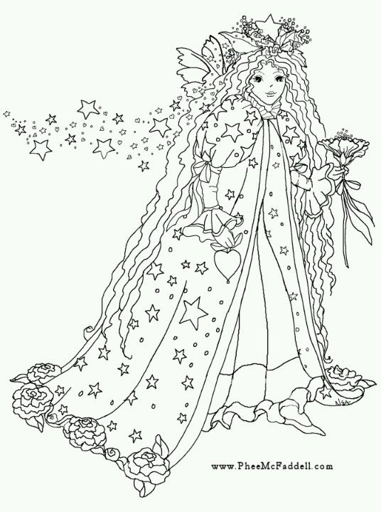 phee mcfaddell artist coloring page fantasy lady