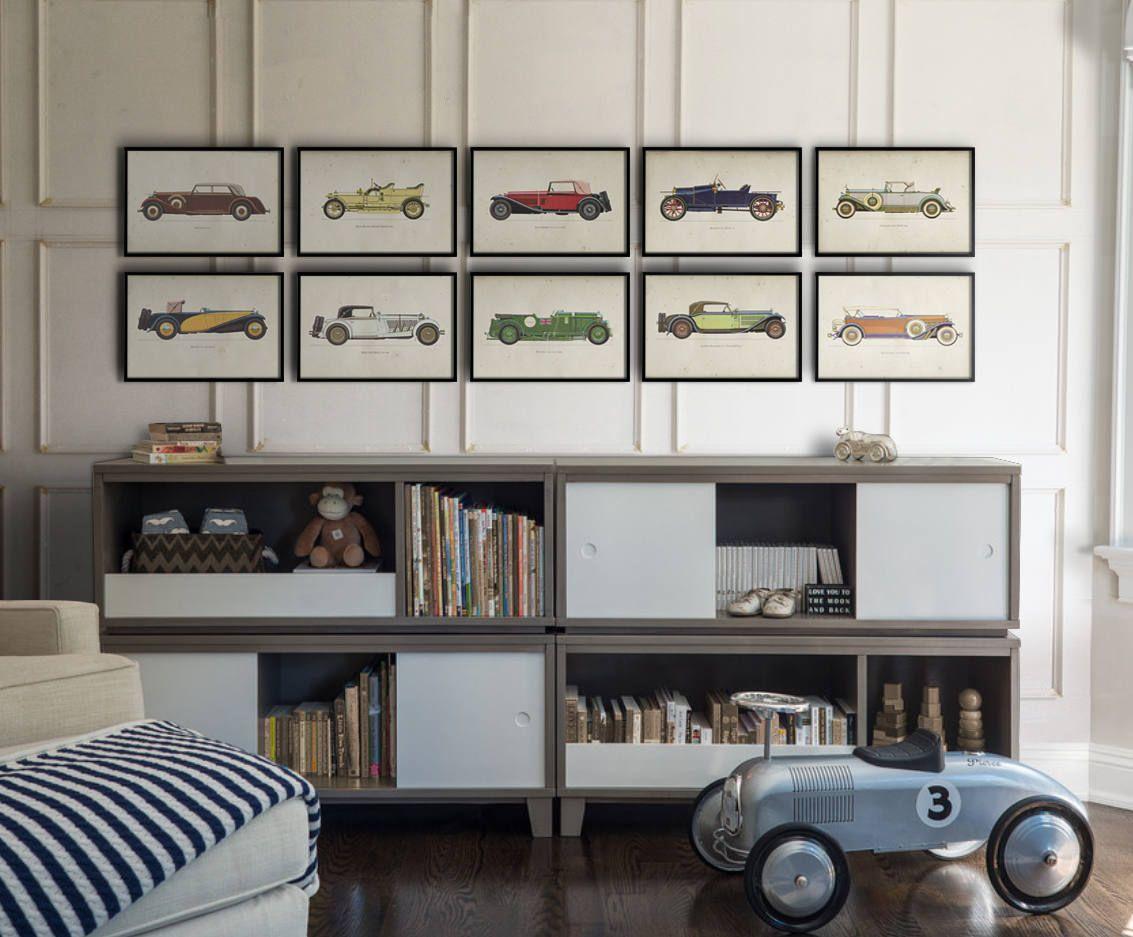 Car Art Prints : Vintage Car Art – Car Themed Room – Antique Car Print – Kids Car Art – Nursey Decor – Vintage Car Nursery – Classic Car Art