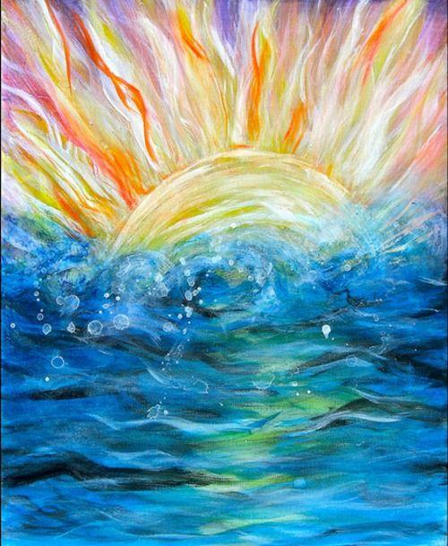 Sunshine On The Water Watercolor Sun Painting Sun Art
