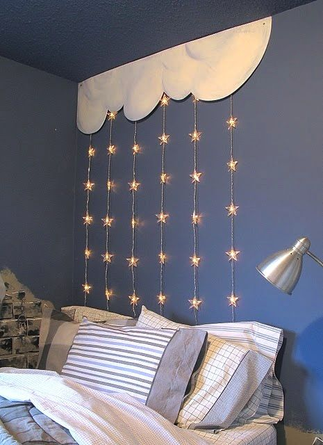Decorative Lighting With Star Strands In Boys Room