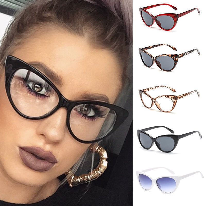 ca053bea2a Mujeres Gafas sexy de Lente Claro Ojo De Gato Marco Lujo UV proteger Gafas  de sol Gafas