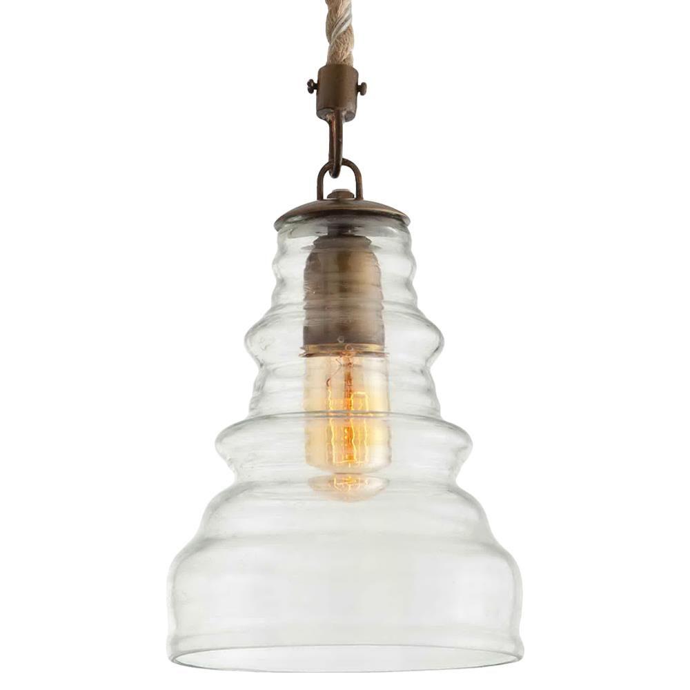 Wesley vintage glass nautical coastal style rope pendant light