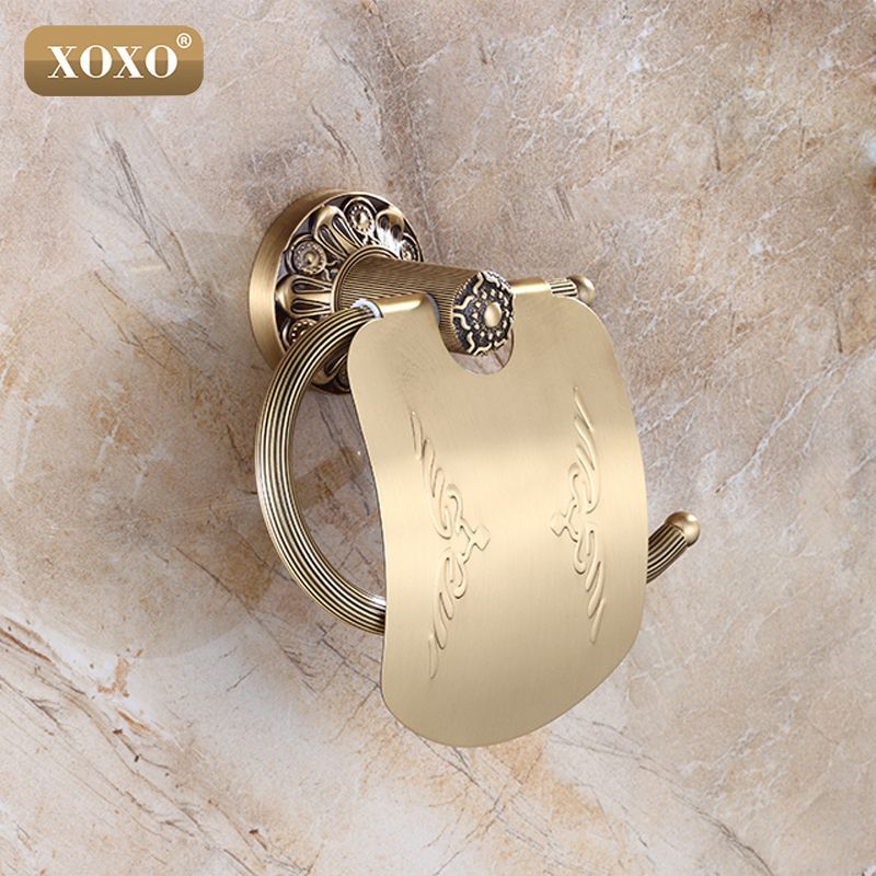 XOXO Bathroom Toilet Paper Holder With Cover Antique Brass Roll