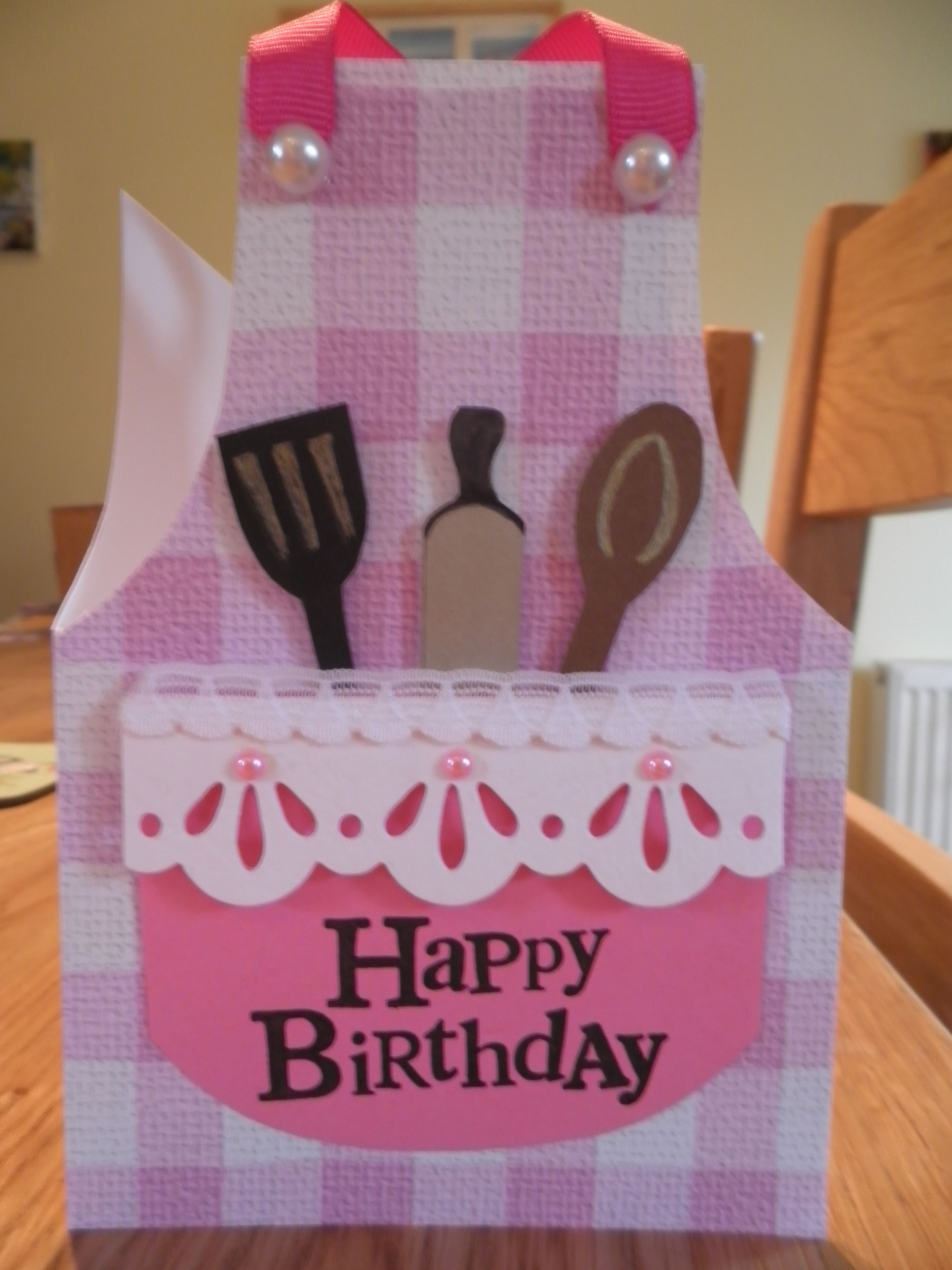 Birthday Card pink cook's apron Grandma birthday card