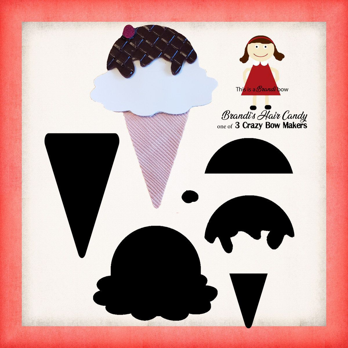 Ice cream cone snap clip template SVG and printable PDF