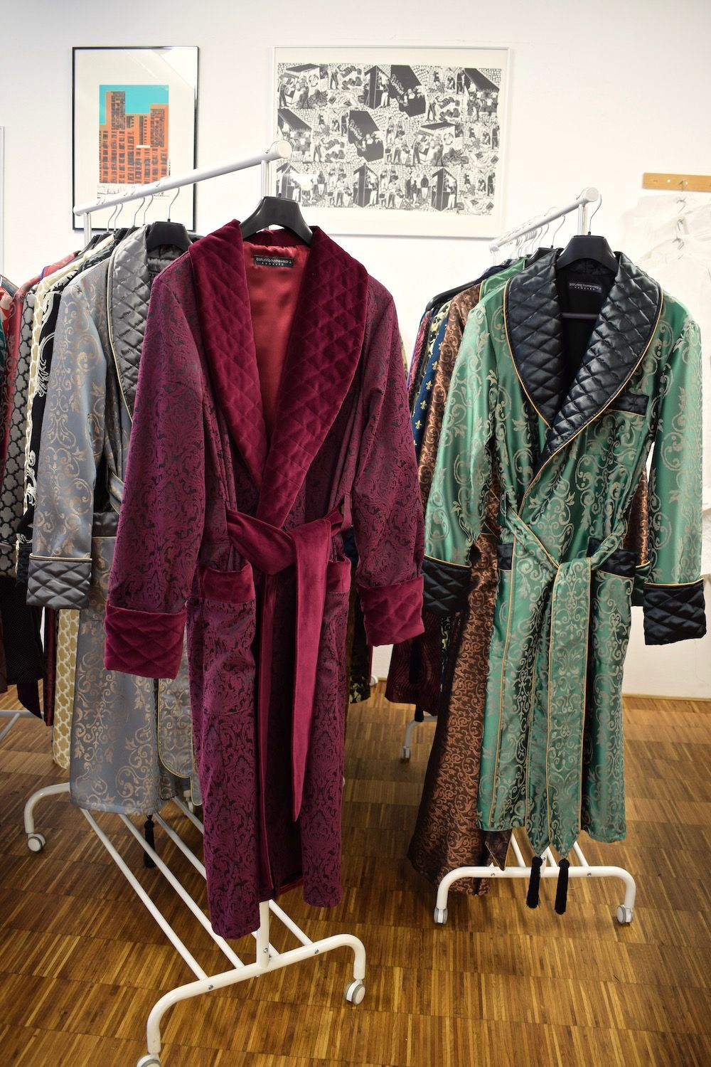 16d30fe467fadb Men's luxury velvet and quilted silk dressing gown. Gentleman's classic  lounge robe. Vintage style