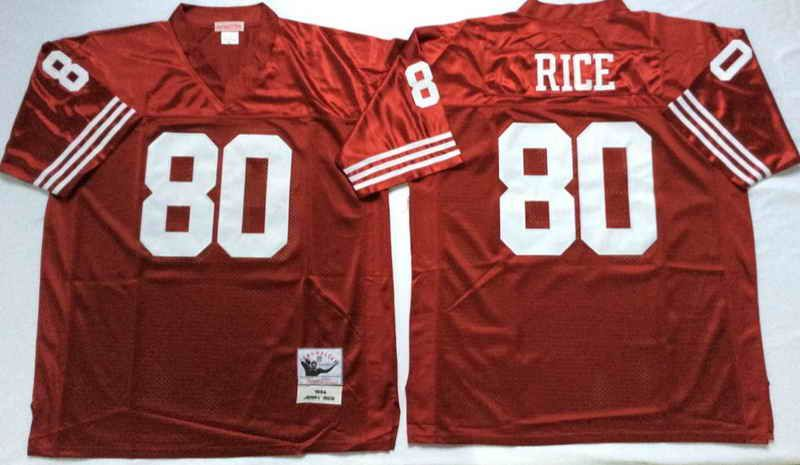 ... 22 mitchell ness san francisco 49ers 80 jerry rice red nfl throwback  jersey b0a92447f