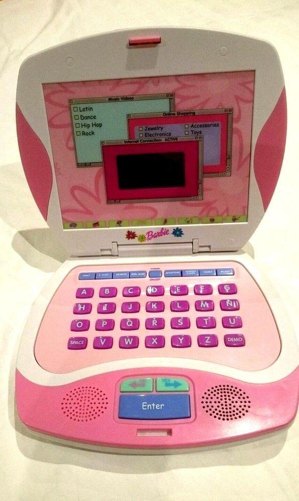 Barbie Mattel Girls Children's Toy Laptop Educational Music Works Exc 2003 Rare #Mattel