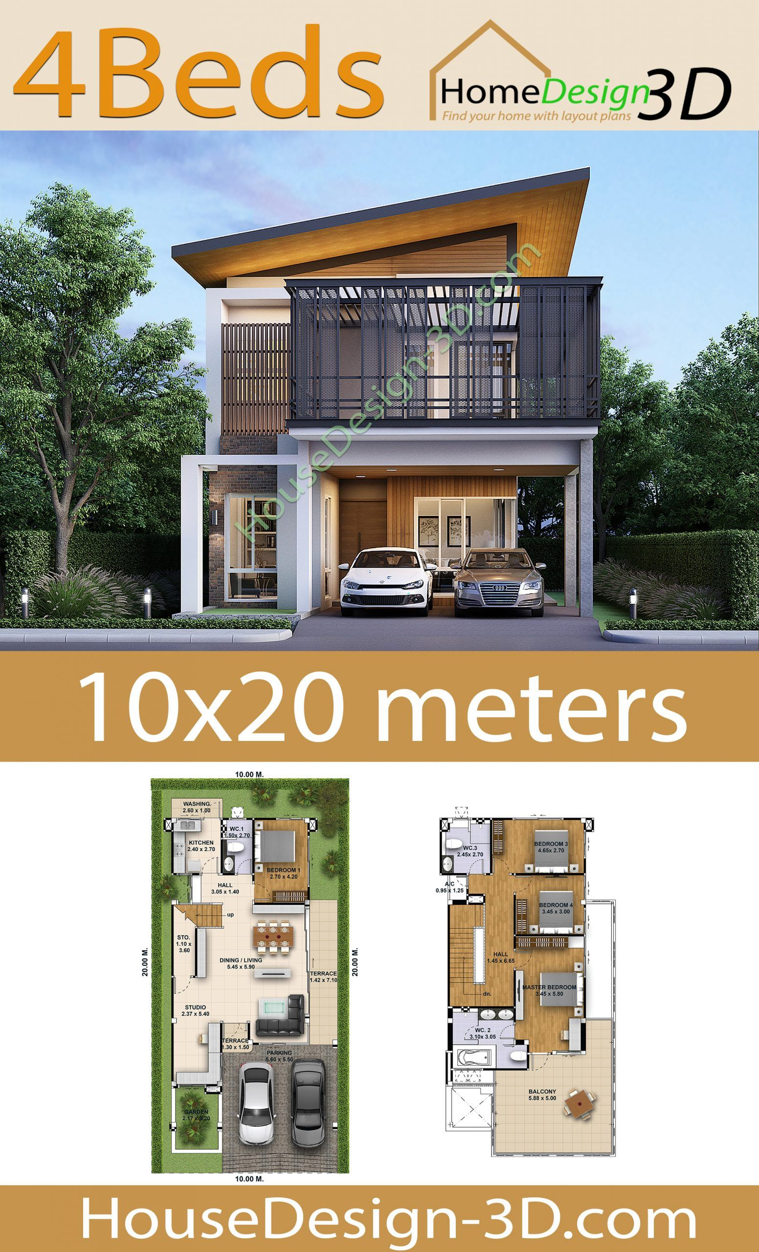 House Design 3d Plot 10x20 with 4 Bedrooms - Tiny House ...