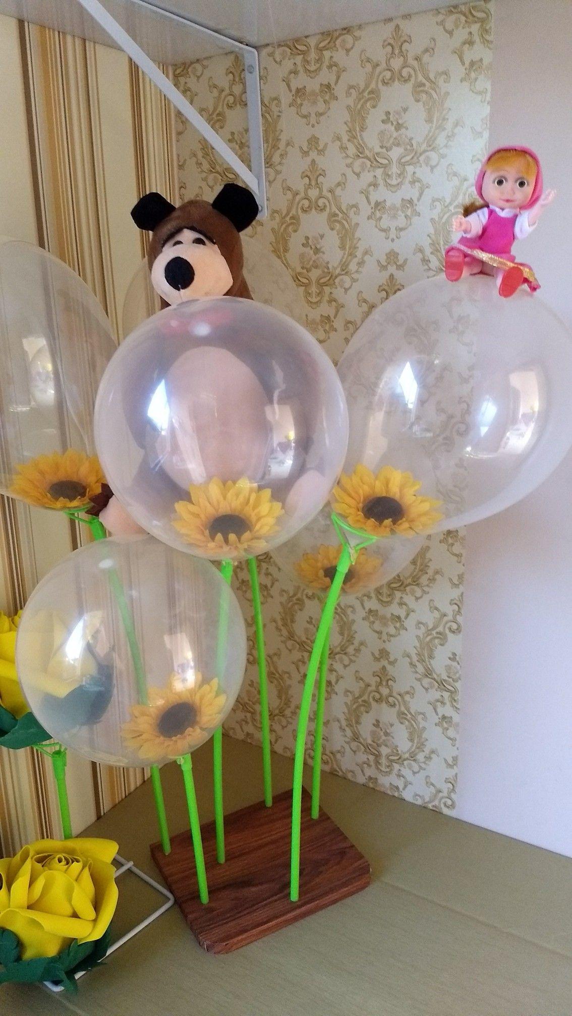 Baloes Transparentes Com Flores Dentro Com Imagens Festa Masha