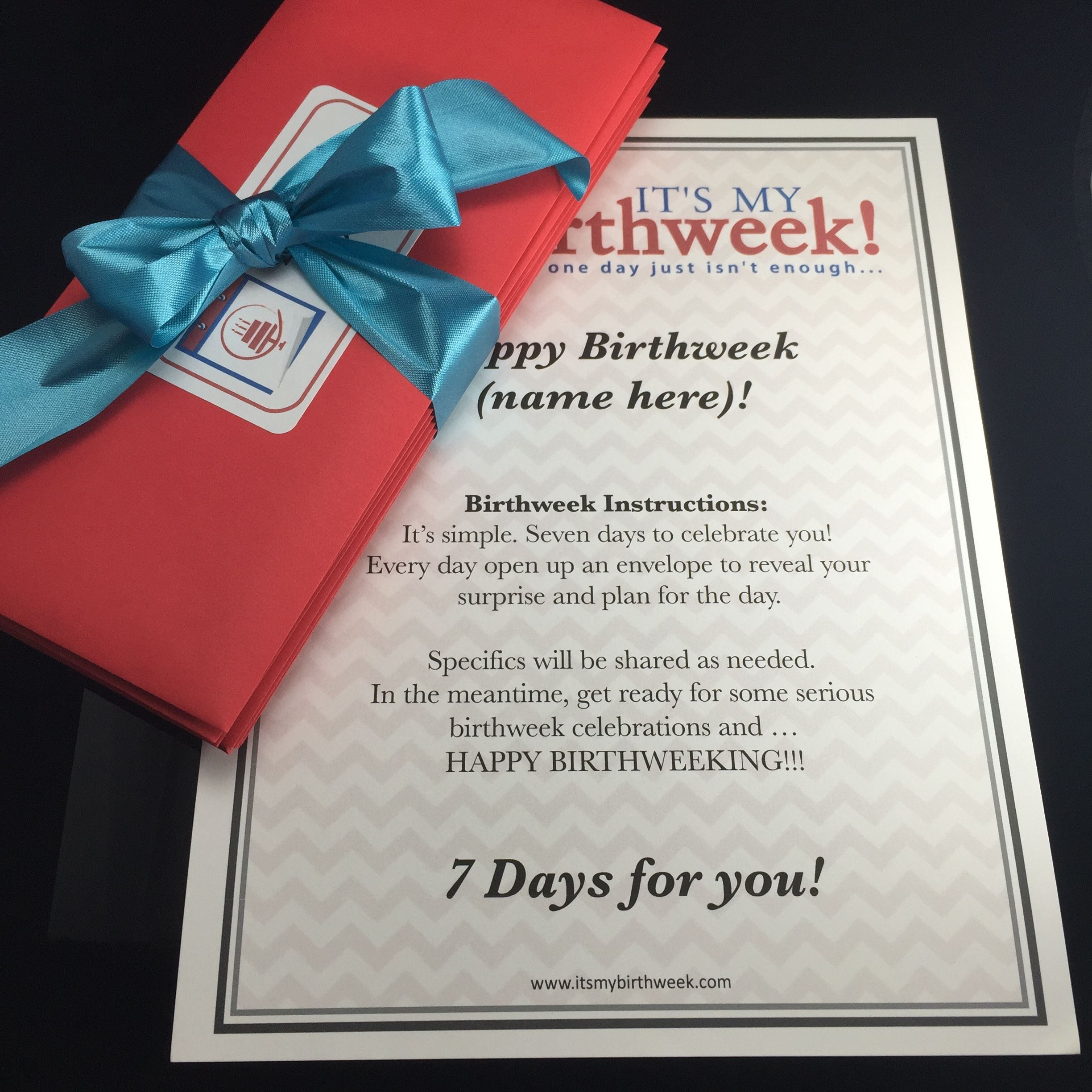Birthweek Celebration Letters Delivered To Your Home 7 Day Unique