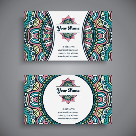 Business card with ethnic pattern vector set 15 vector business business card with ethnic pattern vector set 15 vector business vector card vector reheart Images