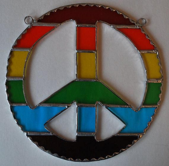 Stained glass rainbow peace sign by ManemannArt on Etsy, $20.00