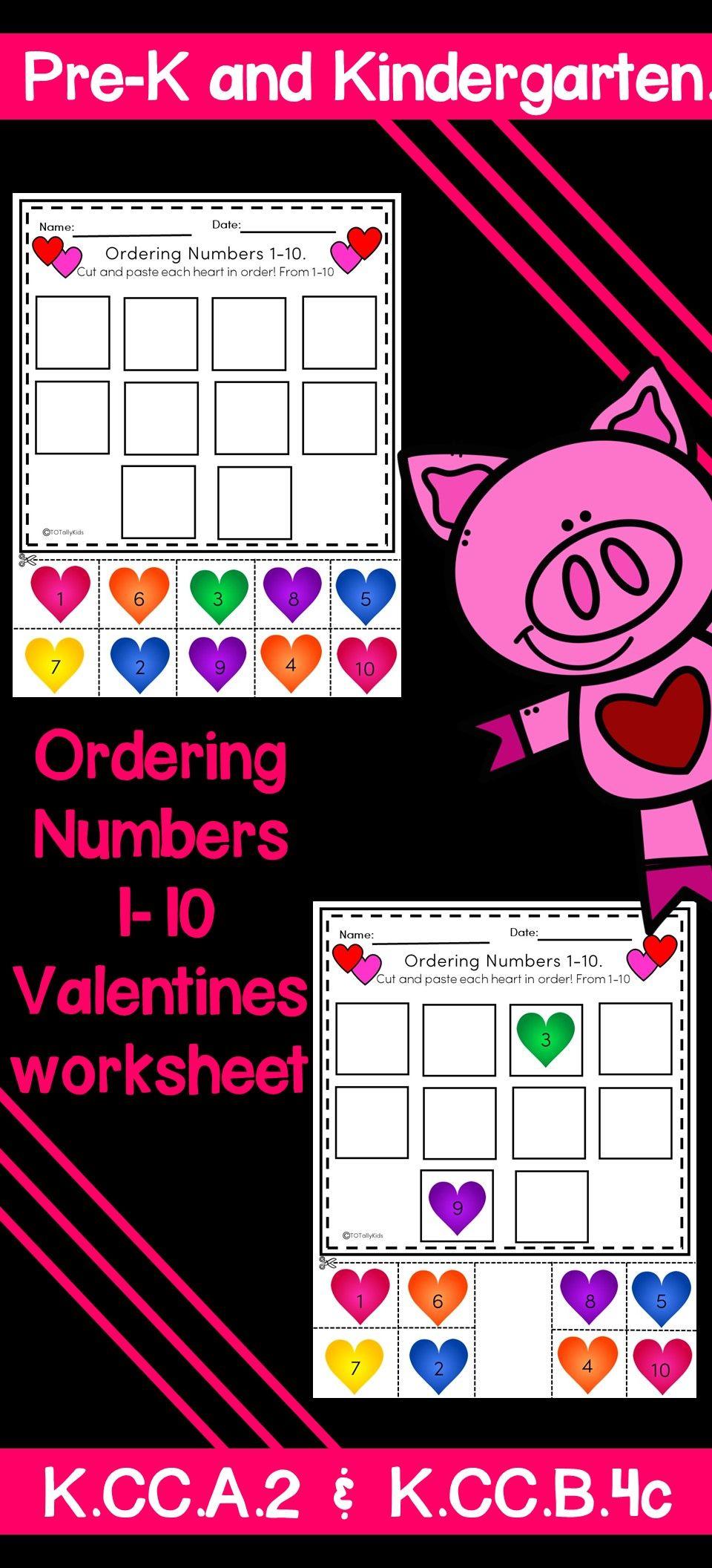 Ordering Numbers 110 Valentines Edition Valentine