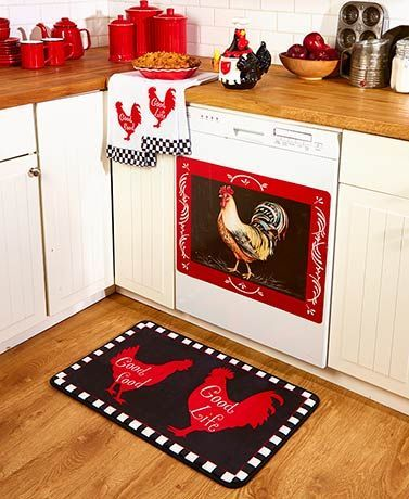 Rooster Kitchen Collection #kitchencollection Keep it simple in your cooking area with this Rooster Kitchen Collection. Each coordinating piece features the image or silhouette of a rooster. Feel comfort underfoot when you set the Rug (18-1/4 x 30-1/8) near the sink. Polyester, foam and non-woven. #kitchencollection
