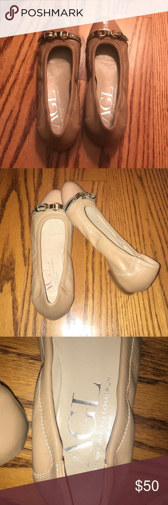 AGL ballet flats *MADE IN ITALY* Beige, leather ballet flats from Italian designer AGL (Attilio Giusti Leombruni). Soft & flexible. Lightly worn, great condition! AGL Shoes Flats & Loafers