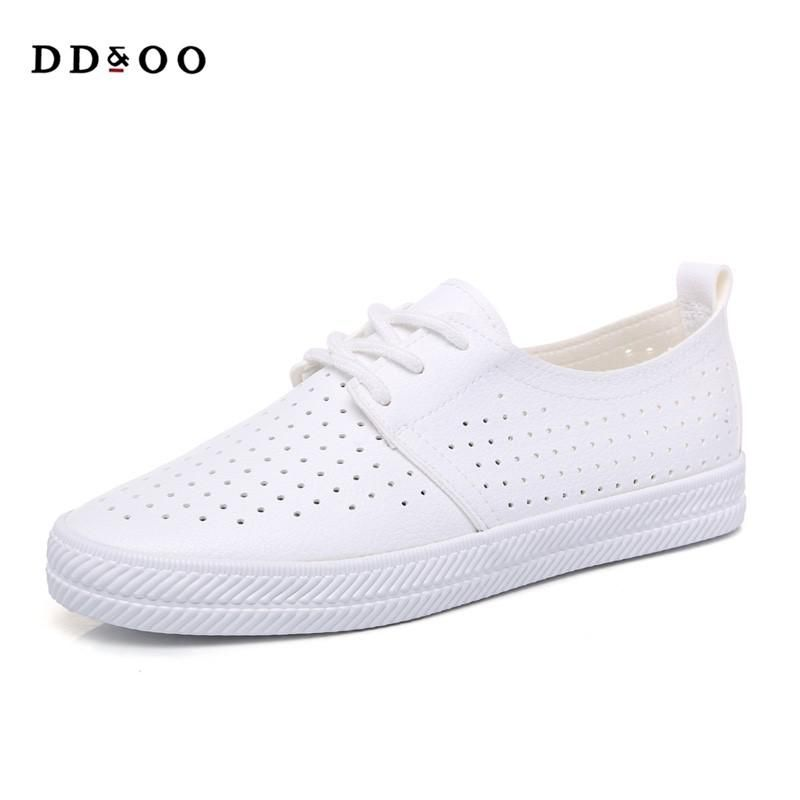 2018 summer new fashion women shoes casual flats PU leather mesh simple  women casual girl soft white shoes sneakers. Yesterday s price  US  29.99  (26.19 ... 5fc2685eb5