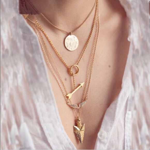 Gold Arrow 4 Strand Multilayer Necklace