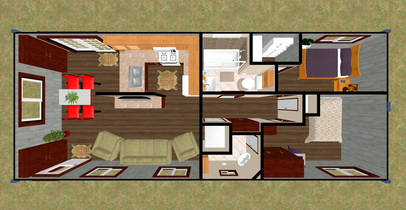 3d top view of our 640 sq ft daybreak floor plan using 2 x 40
