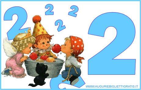 Biglietto di auguri numerato per bambini che compiono 2 anni