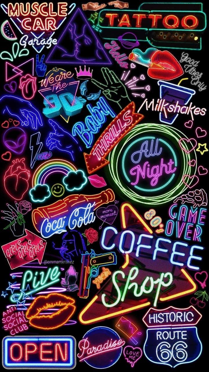 Amazing Aesthetic Tumblr Lockscreen Neon Wallpaper Iphone Images