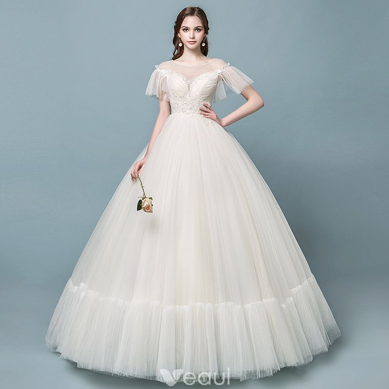 Discount See-through Champagne Wedding Dresses 2018 Ball Gown Square ...