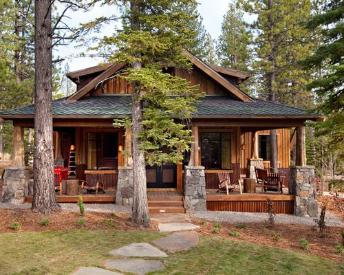 Craftsman style cabin home design ideas pictures remodel for Craftsman log home plans