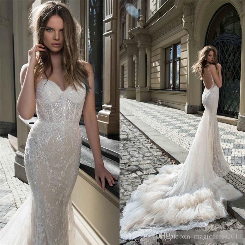Berta Bridal Mermaid Wedding Dresses Spaghetti Sweetheart Neckline