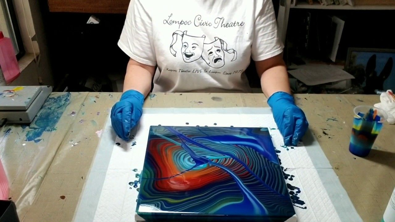 2 acrylic pour rings and ribbons artists loft ready