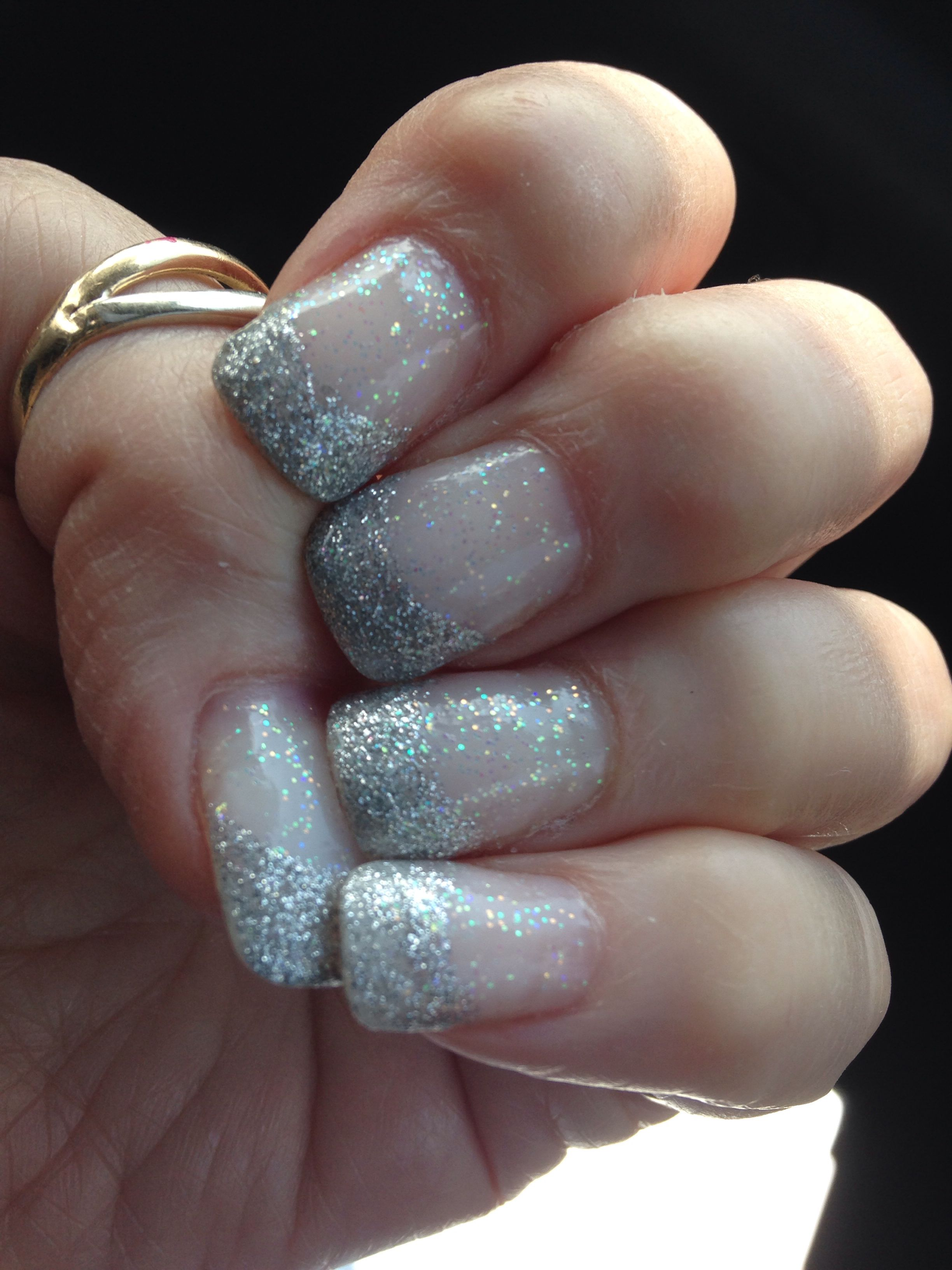 Silver French Glitter Nail Design- done by Randy R | French Nail ...
