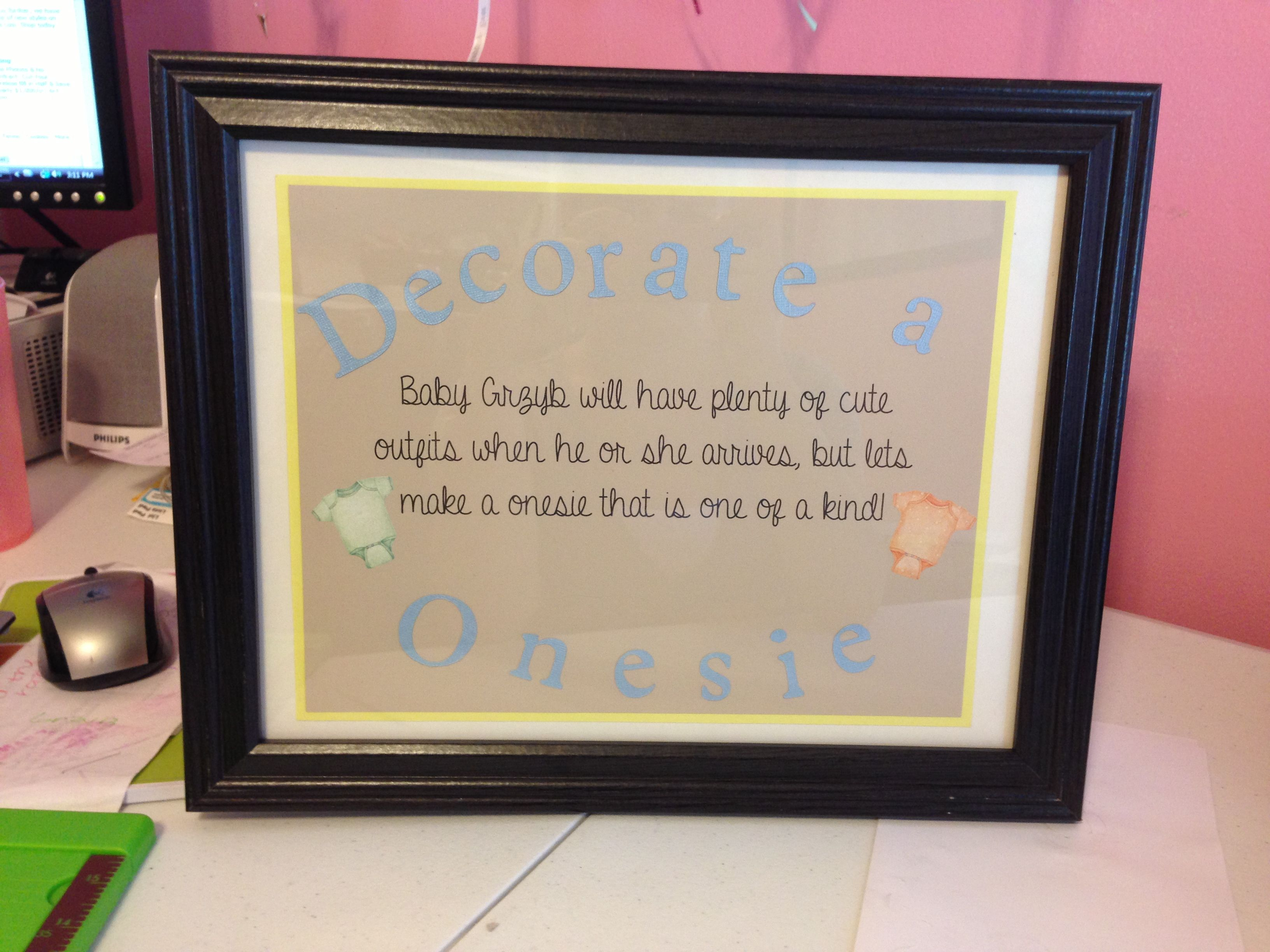 962cb28309091 Decorate a onesie for sprinkle shower sign! | Baby Sprinkle in 2019 ...