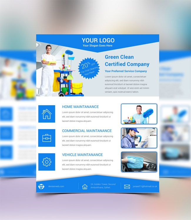 Free Cleaning Service Psd Flyer Template P S D Pinterest