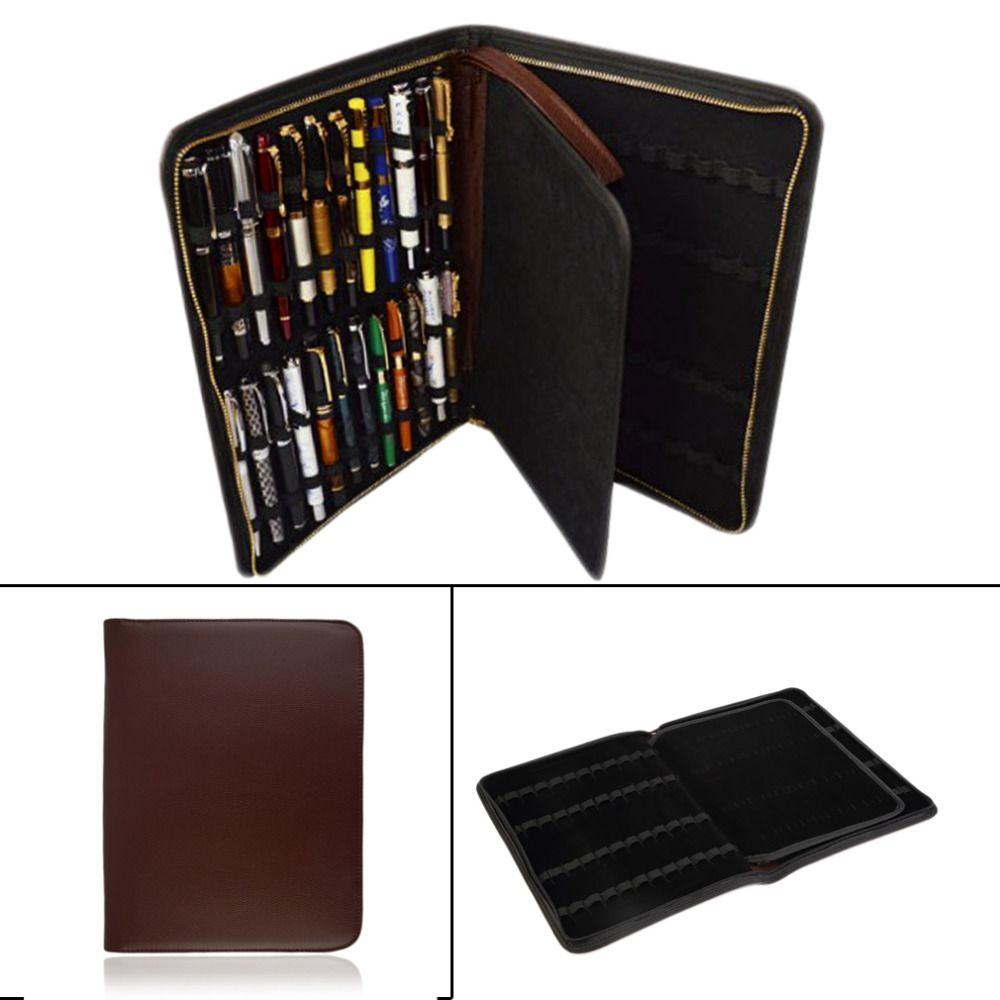 Fountain Pen Holder Roller Ball PU Leather Case Pouch Storage Bag for 12 Collect