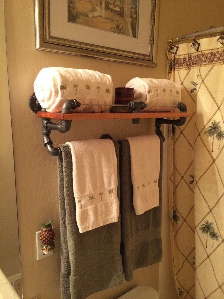 Hand Made Industrial Looking Iron Pipe Bath Towel Rack