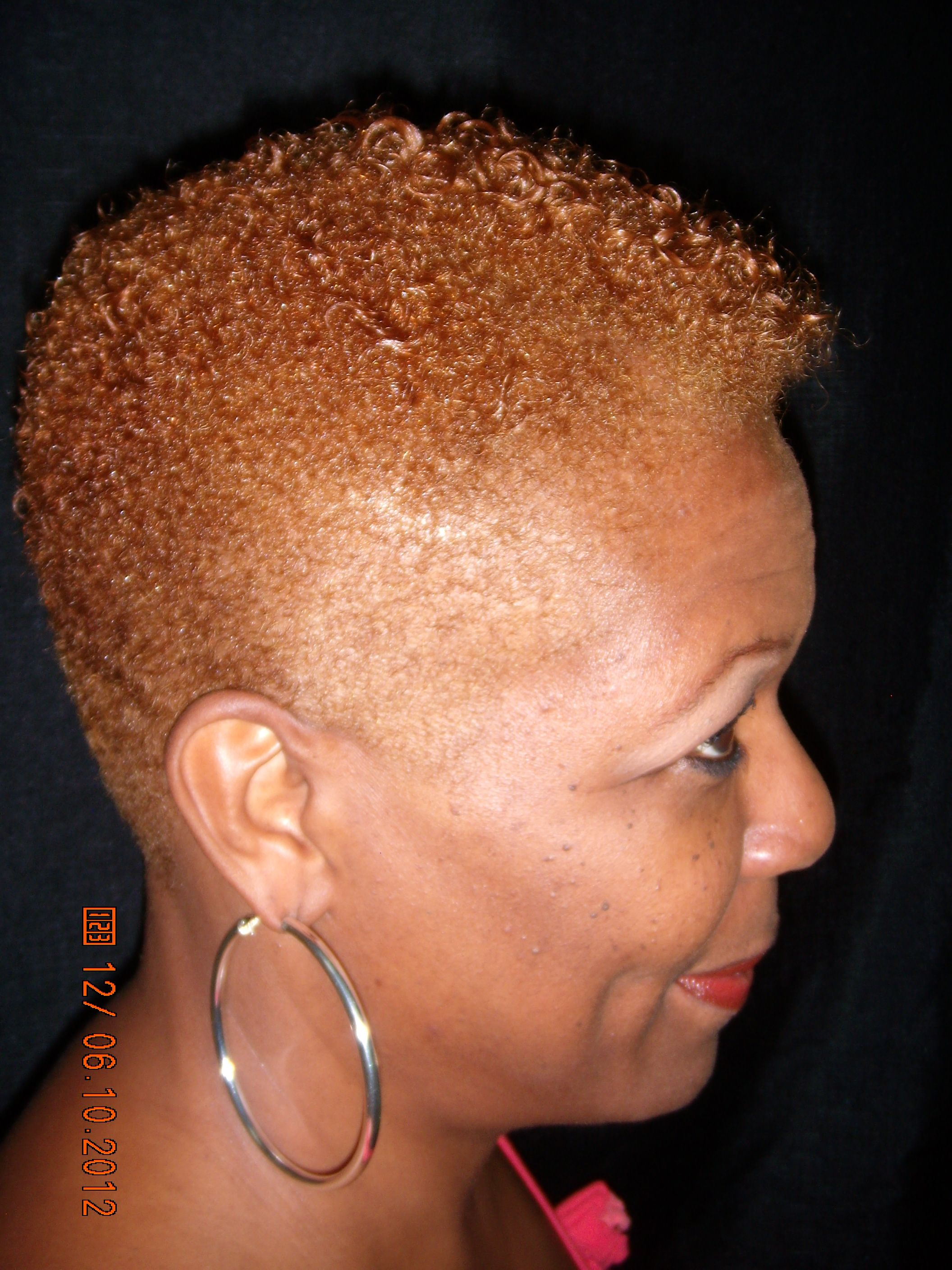 Short Tapered Hair Cut With Color Spectrum S Paul Mitchell Round Trip And Foaming Pomade To Define Her Natural