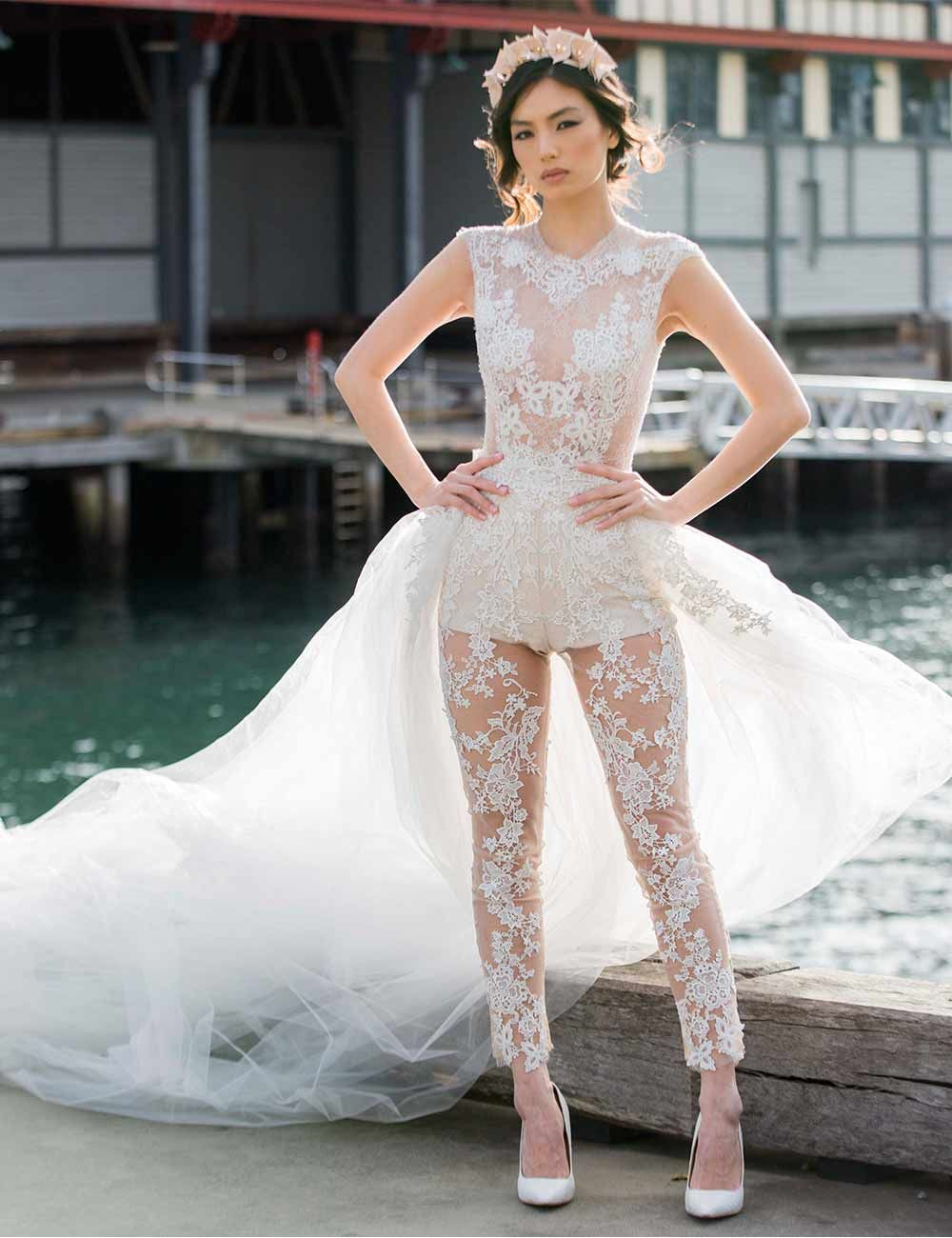 d66c694dcd4 Ines Di Santo s sexy lace jumpsuit is for brides who really want to get  people talking on their wedding day. If there s one way to make a statement  on your ...