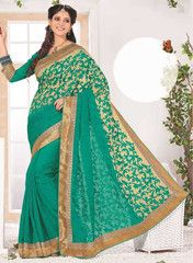 Shades Of Green Color Wrinkle Chiffon Function & Party Wear Sarees : Anaika Collection YF-31677