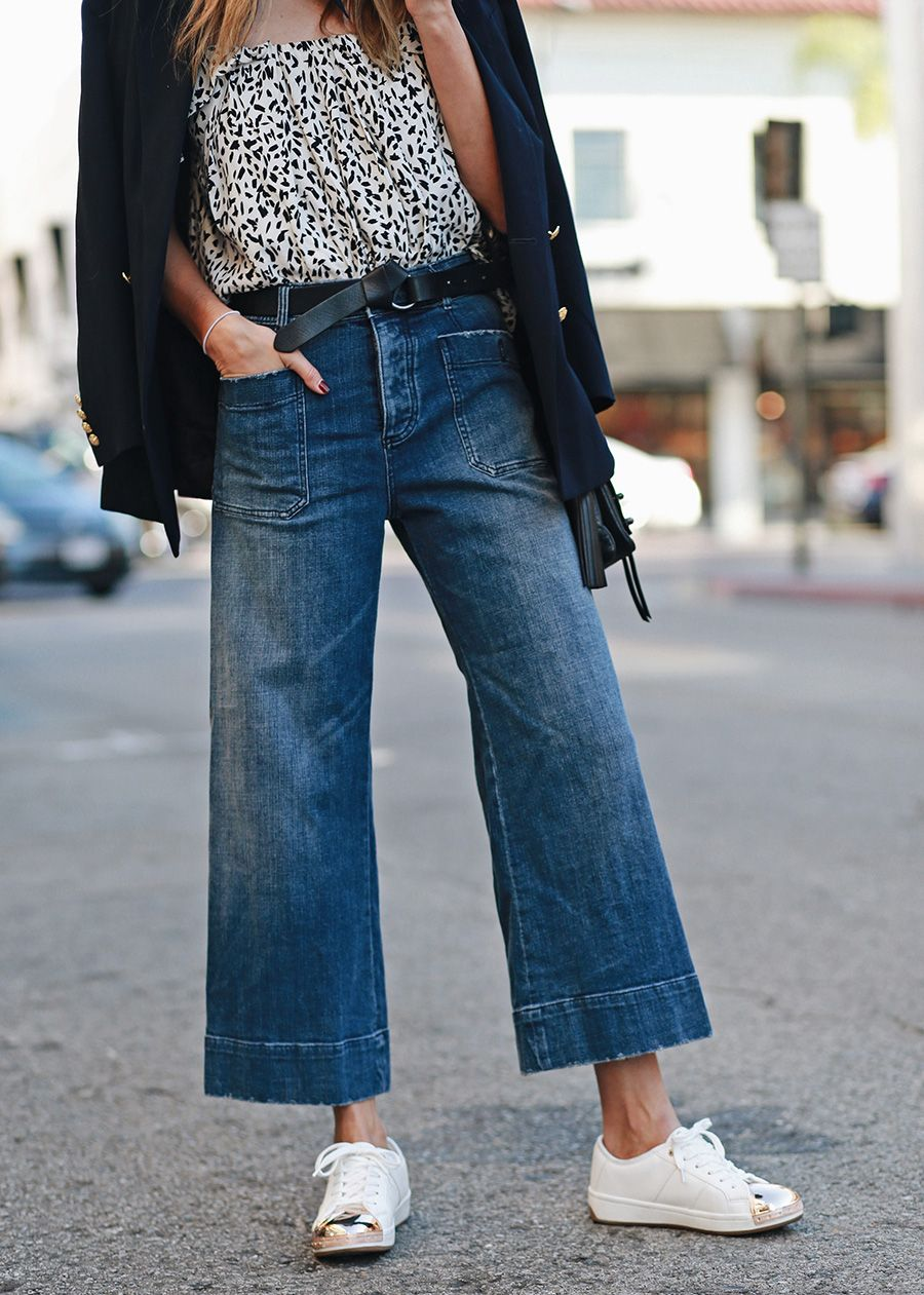 240af49df7f Image Via  Thrifts and Threads in the Pilcro Wide-Leg Sailor Jeans and the  Mirla Midi Top  Anthropologie