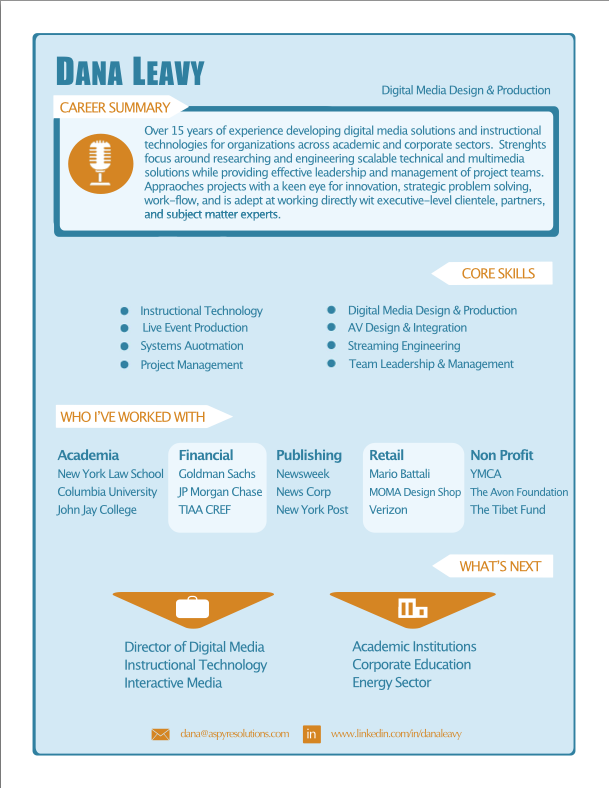 Digital Media Infographic Resume | Brooklyn Resume Studio | #resumes ...