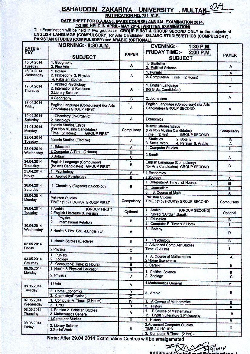BZU Multan BA date sheet 2016 | Results | Dating, University