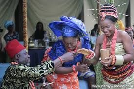 Bride price in Nigerians is the most valuable thing for females Nigeria. The image shows that the father is ready to give out the child for marriage by giving out the palm wine to locate the husband.