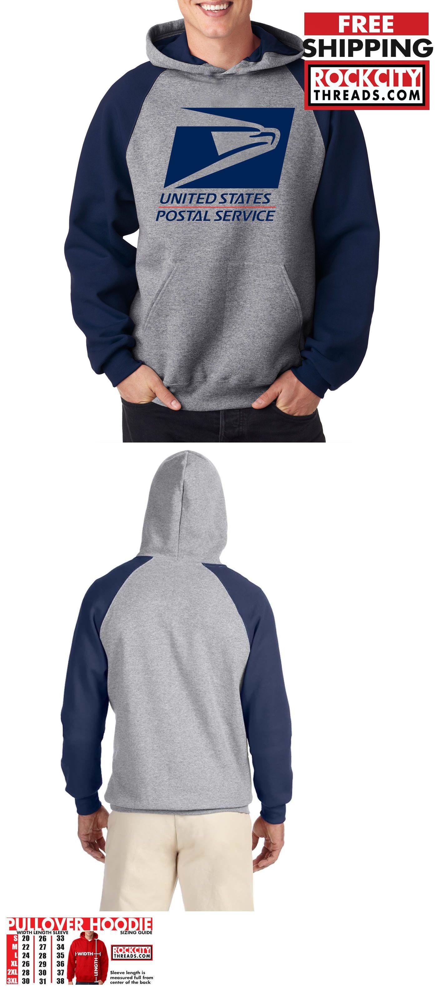 USPS LOGO POSTAL BLUE RAGLAN HOODIE Hooded Sweatshirt United States Service U S