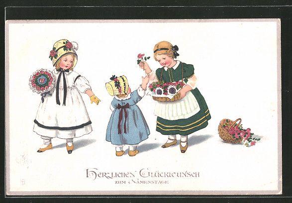 carte postale ancienne: CPA Illustrateur Lia Döring: Glückwunsch zum Namenstage, Fille kaufen des fleurs