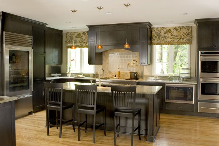 Dark cabinet kitchens look for dark brown finishes on for Brown and black kitchen designs