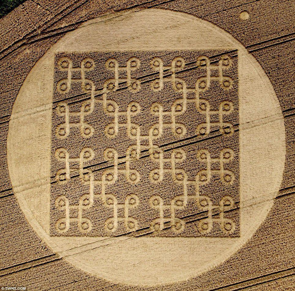 Intricate crop circles in the shape of Tibetan Buddhist ...