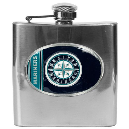 MLB Seattle Mariners 6oz Stainless Steel Hip Flask
