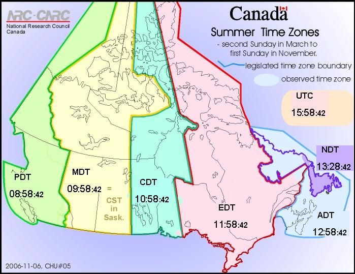 Map Of Canada Time Zones.Daylight Saving Time Summer Time Zones Web Clock Official Times