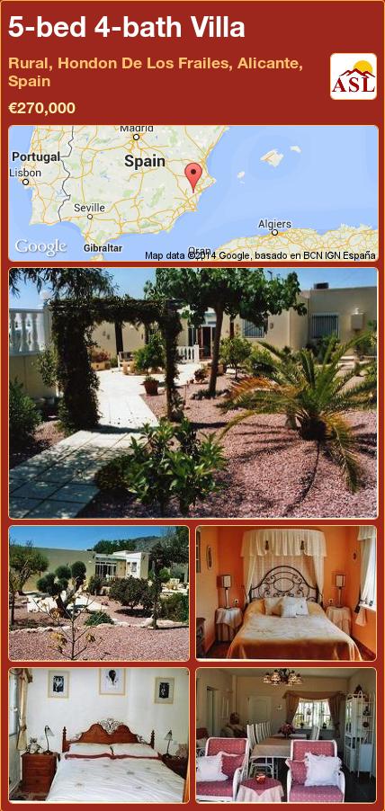 5-bed 4-bath Villa in Rural, Hondon De Los Frailes, Alicante, Spain ►€270,000 #PropertyForSaleInSpain